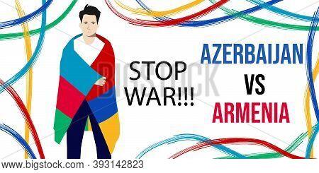 Armenia Vs Azerbaijan War Background Banner. International Clash Symbol Armenia Vs Azerbaijan. Man W