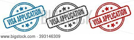 Visa Application Stamp. Visa Application Round Isolated Sign. Visa Application Label Set