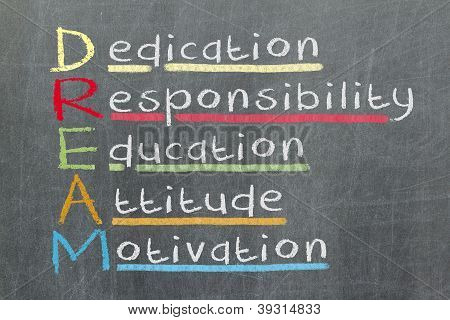 Dedication, Responsibility, Education, Attitude, Motivation - Dream Acronym