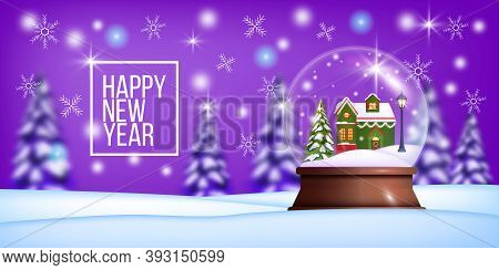 Christmas Winter Vector Background With Snow Crystal Ball, Little Decorated House, Street Light, Pin