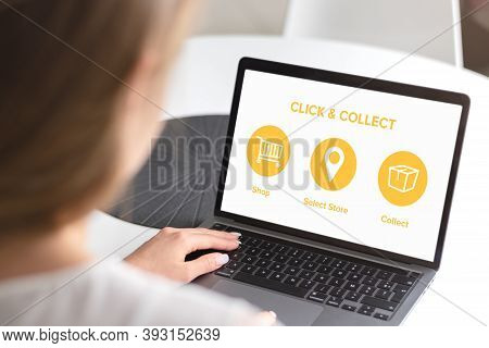 Click And Collect Concept. Woman With Laptop. E-commerce Click And Collect Online Ordering Service S