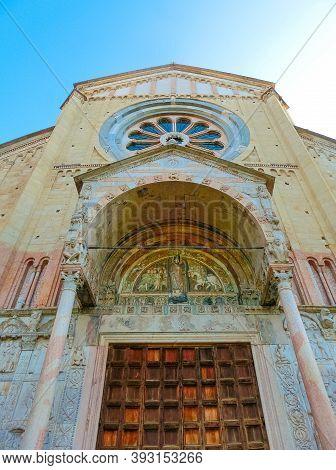 Basilica Of San Zeno Verona - Italy. Facade And Bell Tower Of The Church Of San Zeno In Verona Italy