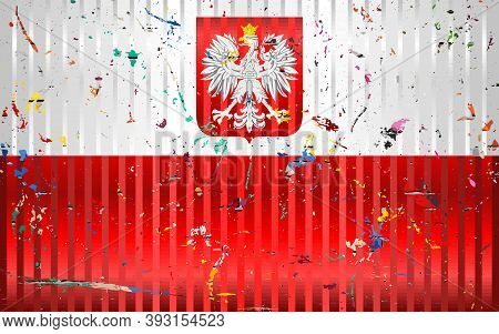 Poland Flag With Color Stains - Illustration,  Three Dimensional Flag Of Poland