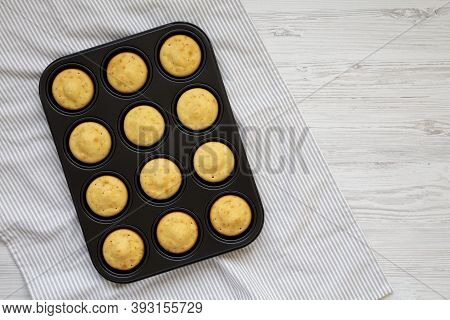 Homemade Cornbread Muffins, View From Above. Flat Lay, Top View, Overhead.