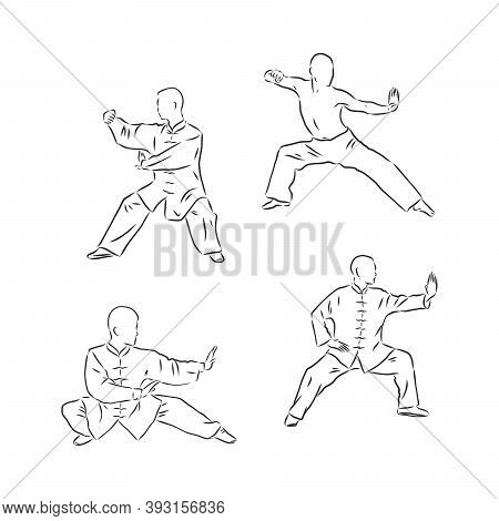 Chinese Vector Shaolin Monk In Kung Fu Pose, Wearing An Orange Traditional Dress With Hand Drawn Kun