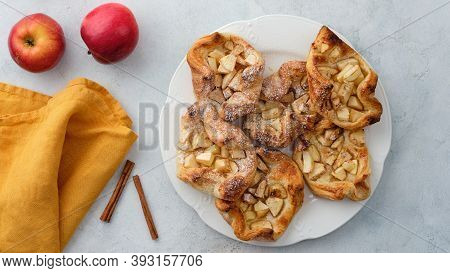 Puff Pastry With Apples, Sugar And Cinnamon. Autumn Pastries.