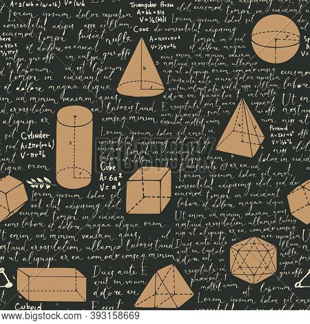 Abstract Seamless Pattern With Handwritten Text Lorem Ipsum And Hand-drawn Geometrical Figures On Th