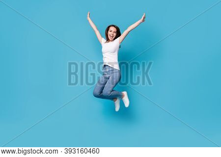 Full Length Body Size View Of Her She Attractive Lovely Slim Skinny Glad Lucky Cheerful Cheery Girl
