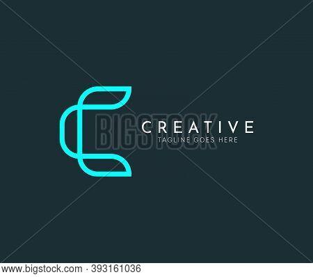C Letter Vector Blue Line Logo Design Template. Creative Minimalism Logotype Icon Symbol. Gaming, E-