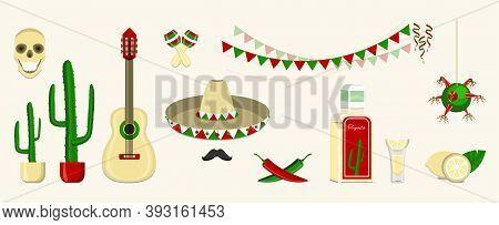 Mexican Fiesta, Cinco De Mayo. Vector Template With Traditional Mexican Symbols.
