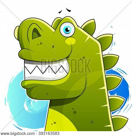 Happy Dinosaur With Good Morning And Happy Day Vector