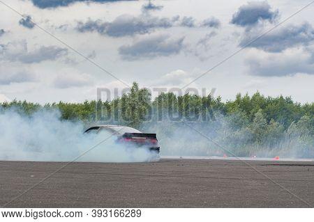Car Drifting, Sport Car Wheel Drifting And Smoking On Track