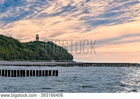 Lighthouse In Niechorze. Niechorze, West Pomerania, Poland.