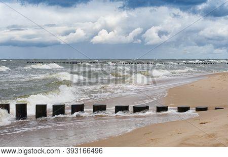 Sea Landscape, Baltic Sea In Rewal. Poland