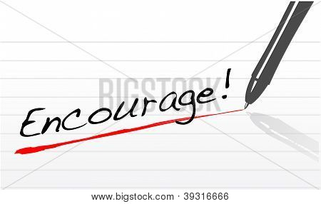 Encourage Written On A Notepad Paper