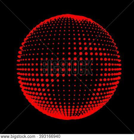 Abstract Halftone Textured Sphere. Disco Ball With Lines And Flare. Electric Jet Impulse Discharges.