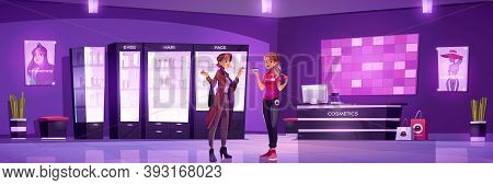 Woman And Seller In Cosmetic Shop. Vector Cartoon Interior Of Beauty Store With Showcases With Makeu
