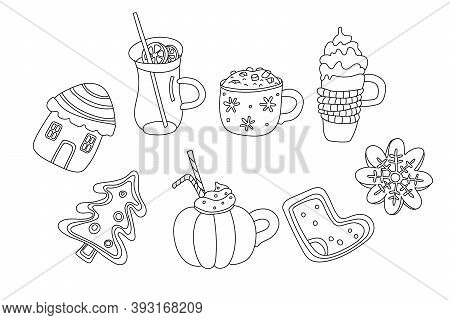 Set With Christmas Drinks And Sweets In Doodle Sketch Style. Cute Gingerbread, Mulled Wine, Mugs Of