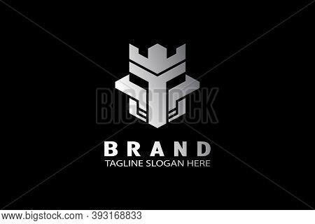 Castle Warrior Logo, Combination Of Castle And Knight Mask, Modern Logo Design With Elegant Metallic