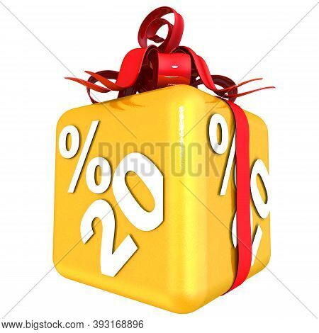 Twenty Percent As A Gift. The Gold Cube With The Inscription Twenty Percent Is Tied With A Scarlet R