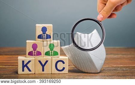 Wooden Blocks With The Word Kyc - Know Your Customer / Client. Verify The Identity, Suitability And