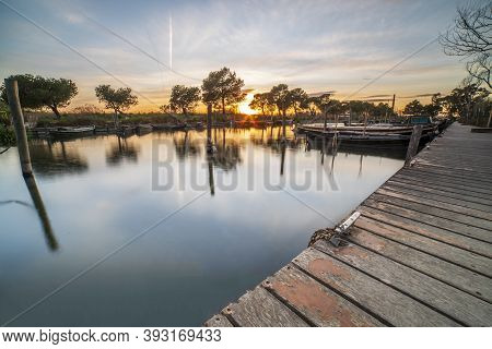 Sunset In The Port Of Catarroja In Albufera Of Valencia, Spain.