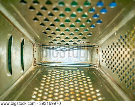 Kitchen Tool Aluminum Hand Grater Inside View. Manual Kitchen Tools. Grater For Chopping Vegetables