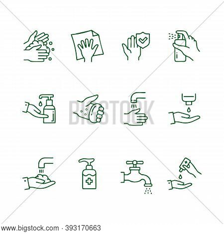 Hand Washing Instruction. Step By Step Tutorial How To Wash Dirty Hands. Health Protection, Prevent