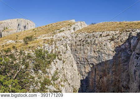 View Of The Chasms Of Partagat In The Mountain Of Aitana, Confrides, Alicante, Spain.