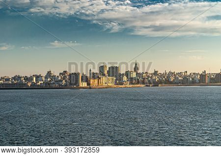 Montevideo, Uruguay- December 18, 2008: Wide Cityscape Along The Rambla Avenues, Seen From Blue Wate