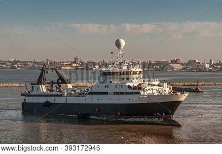 Montevideo, Uruguay- December 18, 2008: Closeup Of Large White-black Ocean-bound Fishing Vessel Saga