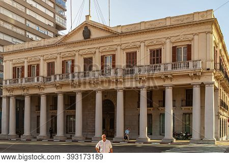 Montevideo, Uruguay- December 18, 2008: Yellow Stone With Pillars Makes Government House Museum, Or
