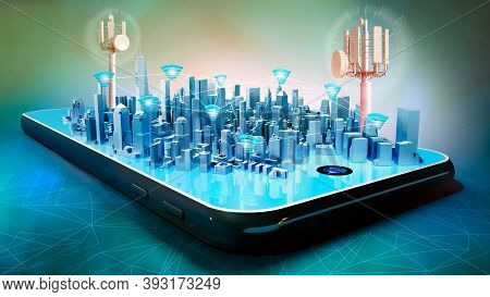 3d Illustration Of Conceptual Smart City Hologram On Smartphone Screen. Telecom Radio Towers And Wif