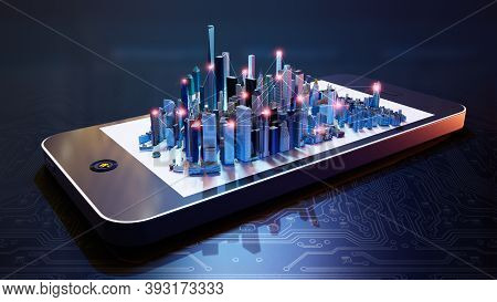3d Illustration Of  Smart City Hologram On Smartphone Screen. Conceptual Connections Between Buildin