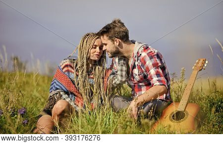 Breathtaking Feelings. Hiking Romance. Couple Happy Cuddling Nature Background. Boyfriend And Girlfr