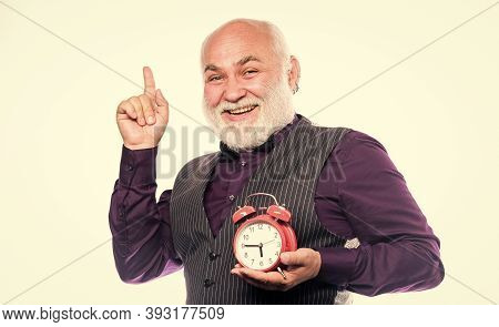 Mature Man With Beard Clock Show Time. Time And Age. Timekeeping. Retirement. Watchmaker Or Watch Re
