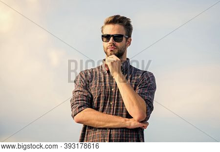 Male Beauty Standards. Male Fashion Style. Looking Very Trendy. Macho Man Unshaven Face. Businessman