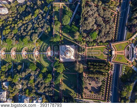 Bahai Garden And The Temple In Haifa, Israel. Aerial View.
