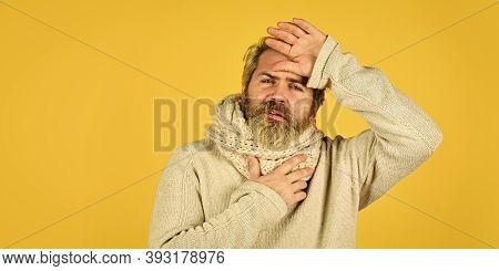 Immune Response. Bearded Man Sick. Warm Scarf Around Neck. Cold Flu Fever Concept. Body Temperature.