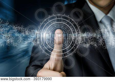 Fingerprint Encoding Concept. A Businessman Scans A Fingerprint On A Virtual Screen.