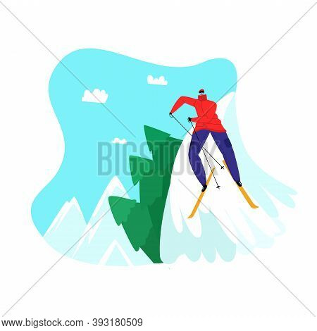 Vector Illustration With Skier Rolling Down Mountain Slope At Competition. Concept Of Ski Resort, Wi