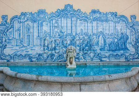 Beautiful Fountain With Blue Tiles And An Ornamental Stone Lion In Marechal Carmona Park, Cascais, N
