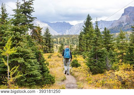 Hiking man in Canadian mountains. Hike is the popular recreation activity in North America. There are a lot of picturesque trails.