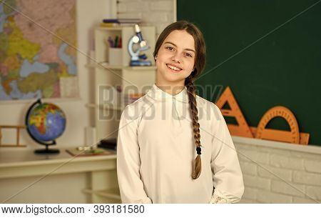 Motivating And Engaging Students. First Day Of School. Happy Schoolgirl. Little Schoolgirl Back To S