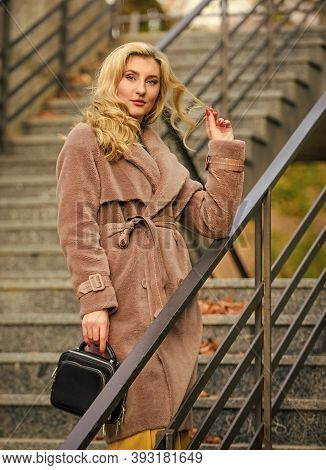 Autumn Outfit. Woman Wear Stylish Outfit And Carry Purse. Outerwear Of Modern Warm And Stylish Eco F