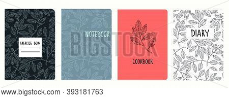 Cover Page Vector Templates Based On Patterns With Hand Drawn Elm Tree Branches. Background For Scho