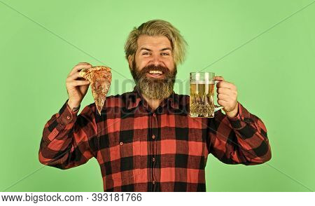 Pizzeria Restaurant. Gourmet Food. I Deserve Some Good Pizza. Italian Food. Man Bearded Hipster Hold