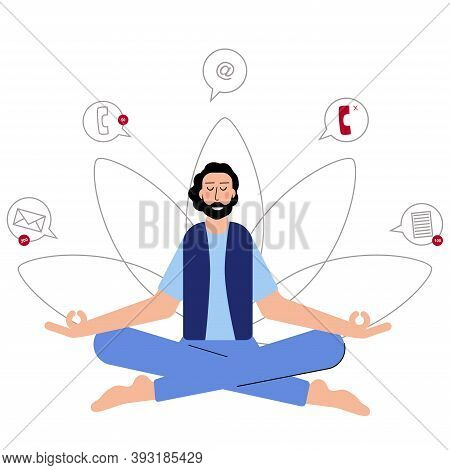 Businessman Is Meditating In The Ofice To Feel More Relaxed And To Avoid Stress. Meditating In Yoga