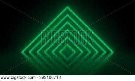 Pyramid Consisting Of Green Neon Glowing Light Stripes On Black Background. Luminous Lines In A Dark
