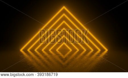Pyramid Consisting Of Orange Neon Glowing Light Stripes On Black Background. Luminous Lines In A Dar